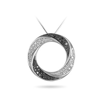 14K WG Black and White Diamond Circle Pendant