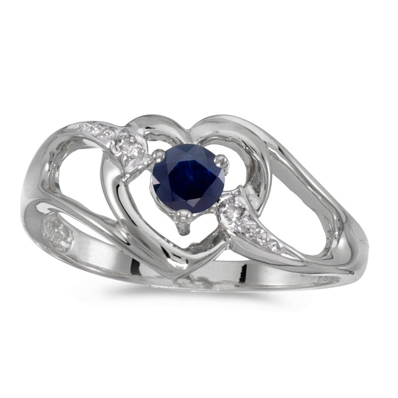 Color Merchants 10k White Gold Round Sapphire And Diamond Heart Ring