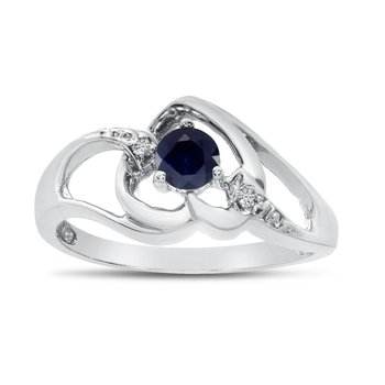 10k White Gold Round Sapphire And Diamond Heart Ring