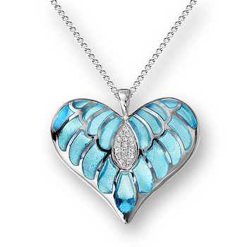 Sterling Silver Heart Necklace-Blue. White Sapphires