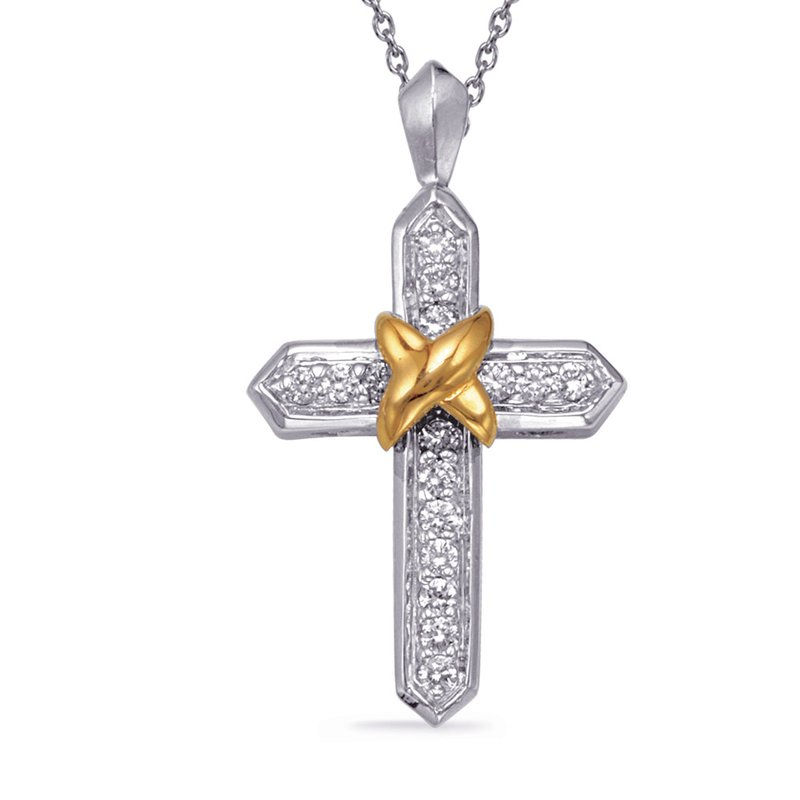 Briana Two Tone Diamond Cross