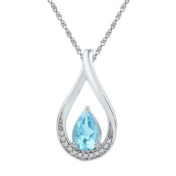Sterling Silver Womens Pear Lab-Created Blue Topaz Fashion Pendant 1.00 Cttw