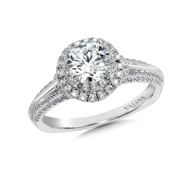 Valina Bridals Halo Engagement Ring Mounting in 14K White Gold (.48 ct. tw.)
