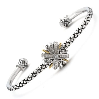18kt & Sterling Silver Diamond Bangle