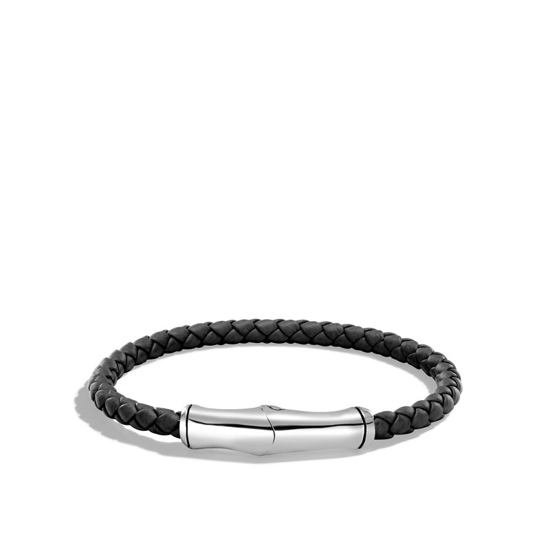 JOHN HARDY Bamboo 5MM Station Bracelet in Silver and Leather