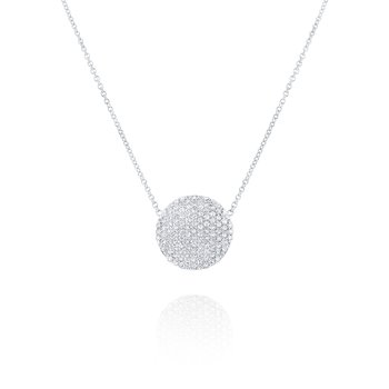 Diamond Pavé Disc Pendant Necklace Set in 14 Kt. Gold