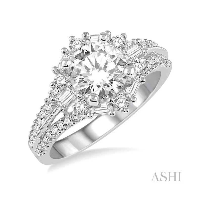 Gemstone Collection flower shape diamond engagement ring