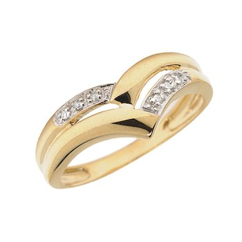 14K Yellow Gold Diamond Chevron Ring
