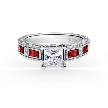 Colorful Ruby Deco Diamond Engagement Ring