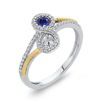 10K White & Yellow Gold 1/5 Ct Diamond with 5/8 Ct White & Blue Sapphire Fashion Ring