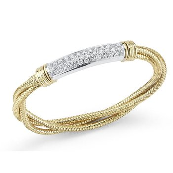 18Kt Yellow And White Gold Twisted Bangle With Diamond Bar