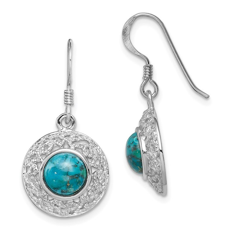 Quality Gold Sterling Silver Rhod-plated w/Reconstituted Turquoise Dangle Earrings