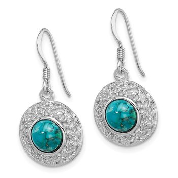 Sterling Silver Rhod-plated w/Reconstituted Turquoise Dangle Earrings