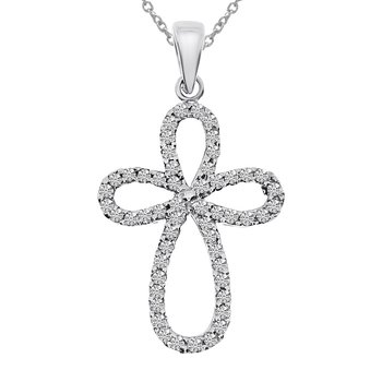 14K White Gold .25 Ct Diamond Cross Pendant