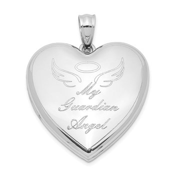 Sterling Silver Rhodium-plated Guardian Angel Ash Holder Heart Locket