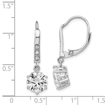 Cheryl M Sterling Silver Rhodium-plated CZ Dangle Leverback Earrings