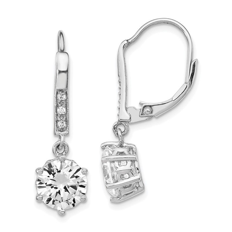 Cheryl M Cheryl M Sterling Silver Rhodium-plated CZ Dangle Leverback Earrings
