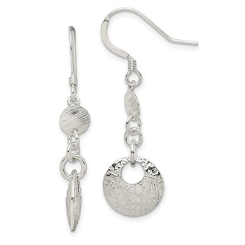 Sterling Silver Polished and Textured Fancy Round Dangle Earrings