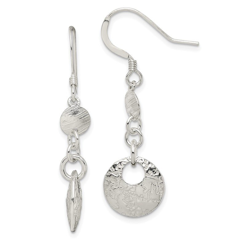 Quality Gold Sterling Silver Polished and Textured Fancy Round Dangle Earrings