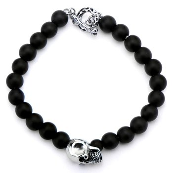 Steel Polish and Matte Finished Skull in Black Onyx Bead Toggle Bracelet