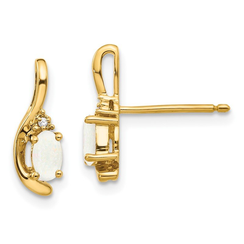 Quality Gold 14k Opal and Diamond Post Earrings