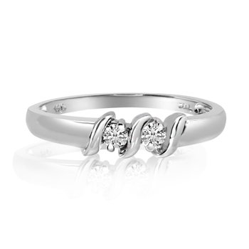 14K White Gold S Design Two-Stone Diamond Ring