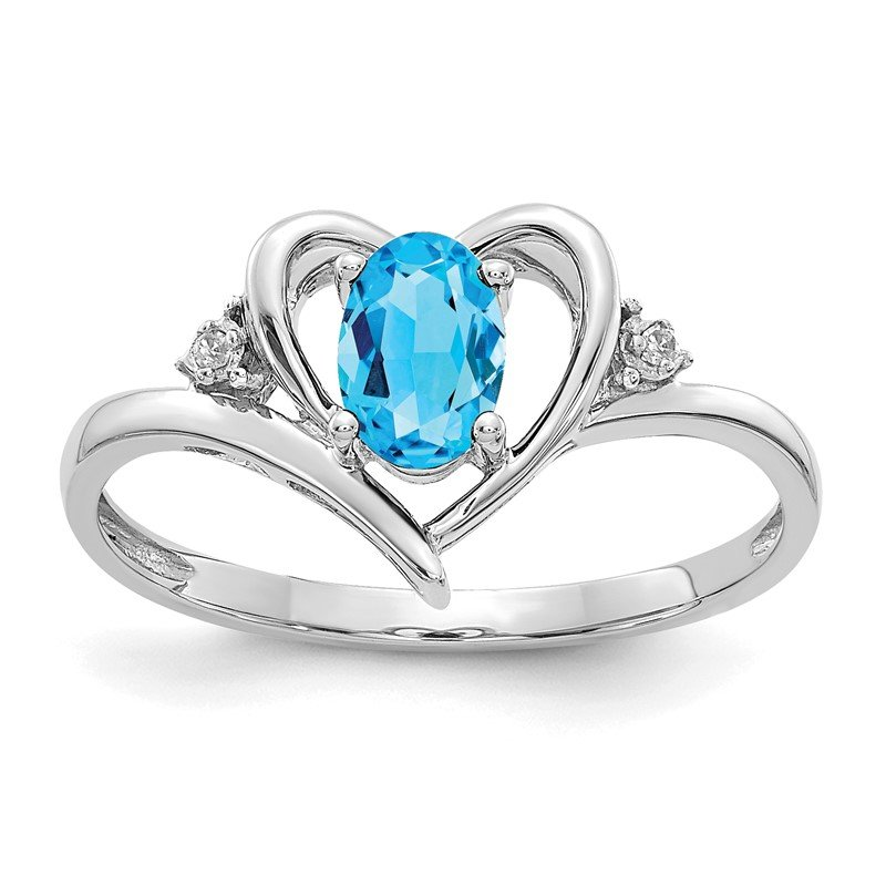 Quality Gold 14k White Gold Blue Topaz and Diamond Heart Ring