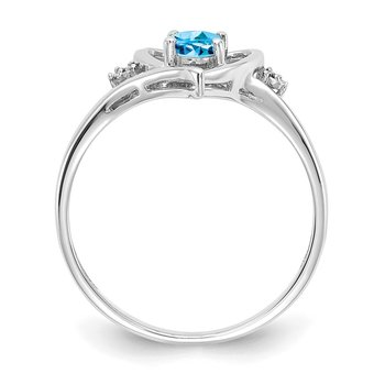 14k White Gold Blue Topaz and Diamond Heart Ring