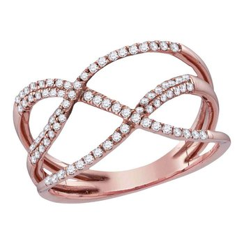 10kt Rose Gold Womens Round Diamond Open Strand Crossover Band Ring 1/3 Cttw