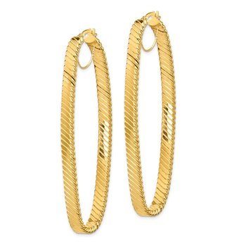 14K 5x26mm Cascade Polished Oval Hoop Earrings