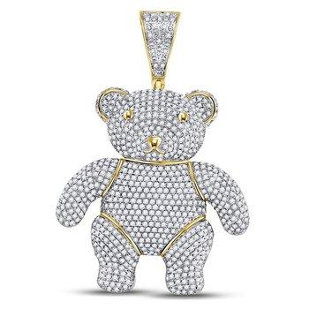 10kt Yellow Gold Mens Round Diamond Teddy Bear Charm Pendant 3-1/5 Cttw