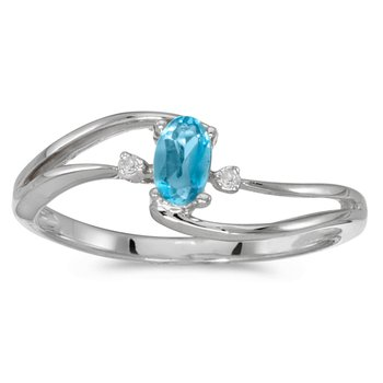 10k White Gold Oval Blue Topaz And Diamond Wave Ring