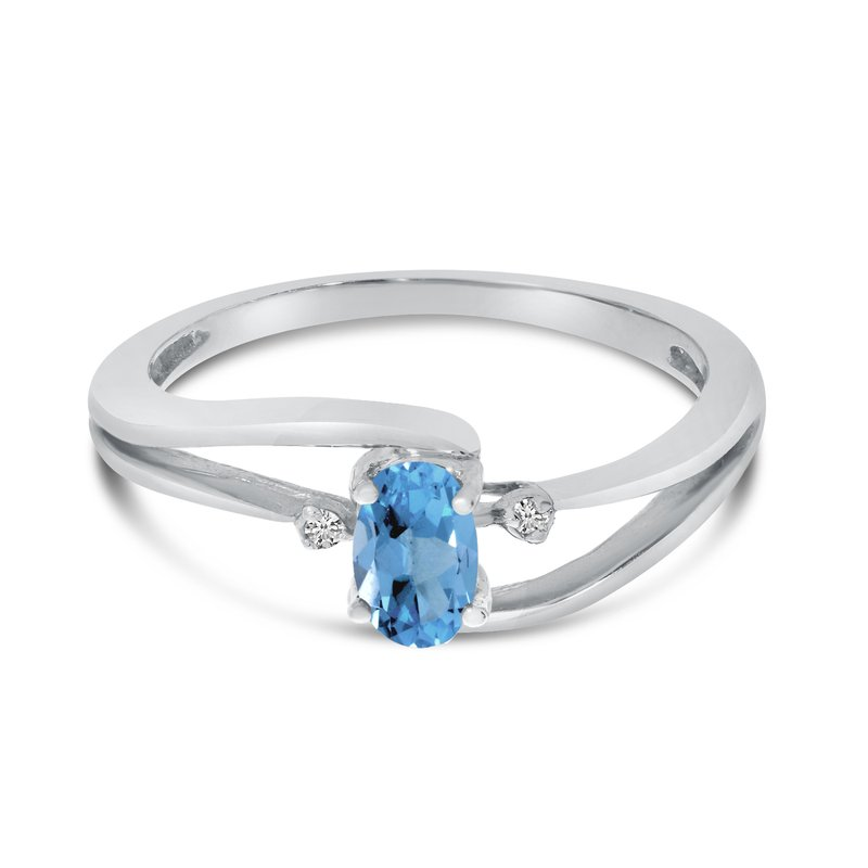 Color Merchants 10k White Gold Oval Blue Topaz And Diamond Wave Ring