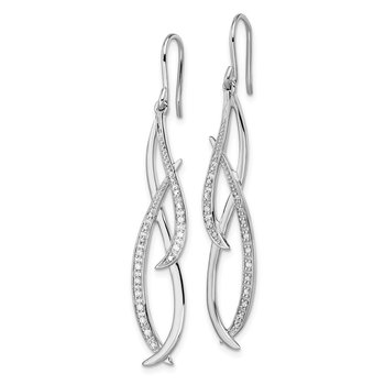 Sterling Silver Rhodium Diam. Dangle Earrings