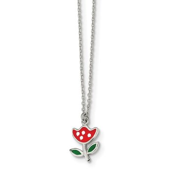 Sterling Silver Polished & Enameled Flower 14in Children's Necklace