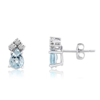 14k White Gold Aquamarine Pear Earrings with Diamonds