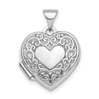 Sterling Silver Rhod-plated Scroll Design Front & Back 15mm Heart Locket