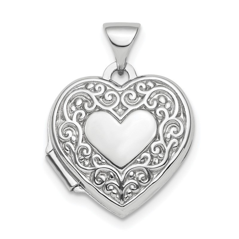 Quality Gold Sterling Silver Rhod-plated Scroll Design Front & Back 15mm Heart Locket