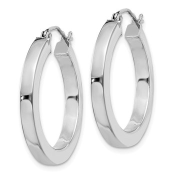 Sterling Silver Rhodium-plated 3x25mm Square Tube Hoop Earrings