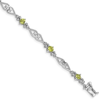 Sterling Silver Rhodium-plated Diamond Peridot Bracelet