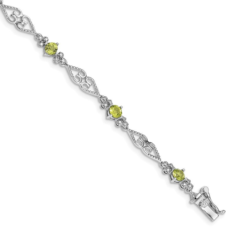 Quality Gold Sterling Silver Rhodium-plated Diamond Peridot Bracelet