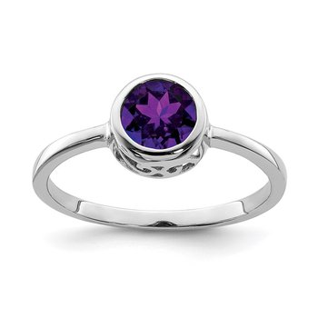 Sterling Silver Rhodium-plated Polished Amethyst Round Ring