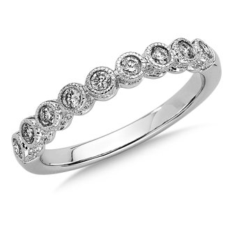 Bezel set Diamond Heirloom Wedding Band 14k White Gold (1/3ct. tw.)