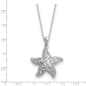 Sterling Silver CZ Make A Difference 18in Necklace