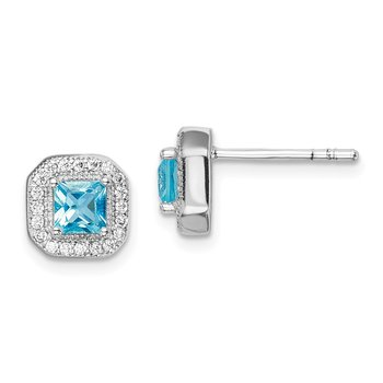 Sterling Silver Rhodium Plated Square Light Blue and Clear CZ Post Earrings