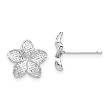 14K White Polished & Textured Plumeria Post Earrings