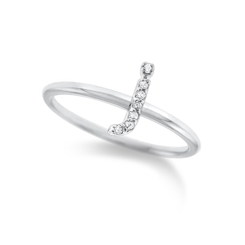 "KC Designs Diamond Typewriter Initial ""J"" Ring"