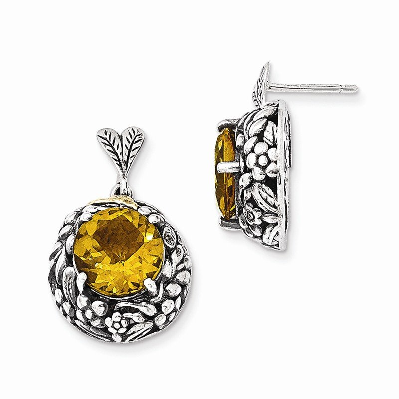 Shey Couture Sterling Silver w/14k Citrine Post Dangle Earrings