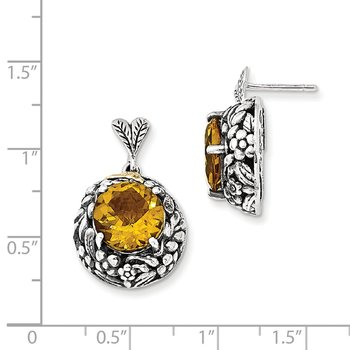 Sterling Silver w/14k Citrine Post Dangle Earrings