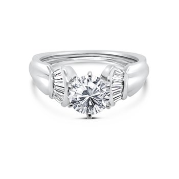 Platinum Baguette Diamond Modern Engagement Ring